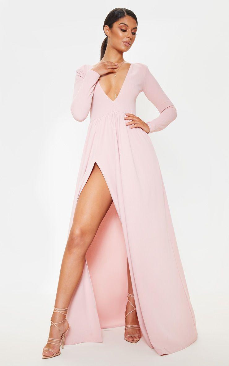 Dusty Pink Long Sleeve Plunge Maxi Dress Plunge Maxi Dress Maxi Dress White Lace Top [ 1180 x 740 Pixel ]