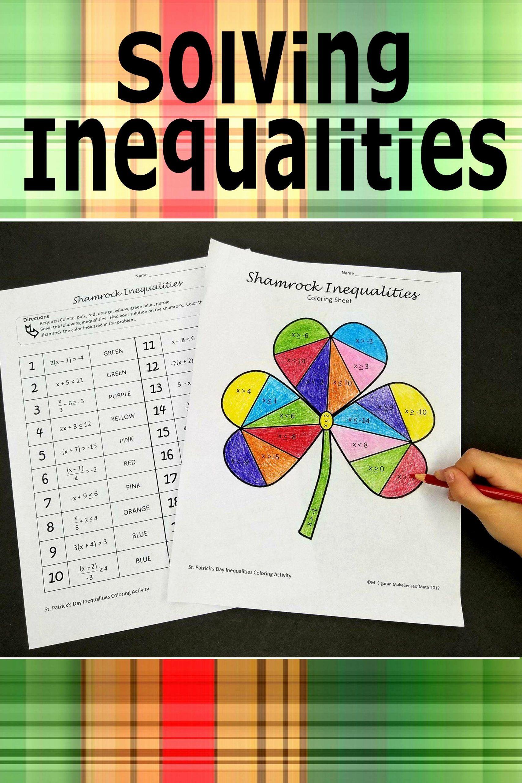 Solving Inequalities Coloring Worksheet Top St Patrick S Day Solving Inequ In 2020 Middle School Math Activities Algebra Maths Activities Middle School Math Activities [ 2560 x 1707 Pixel ]
