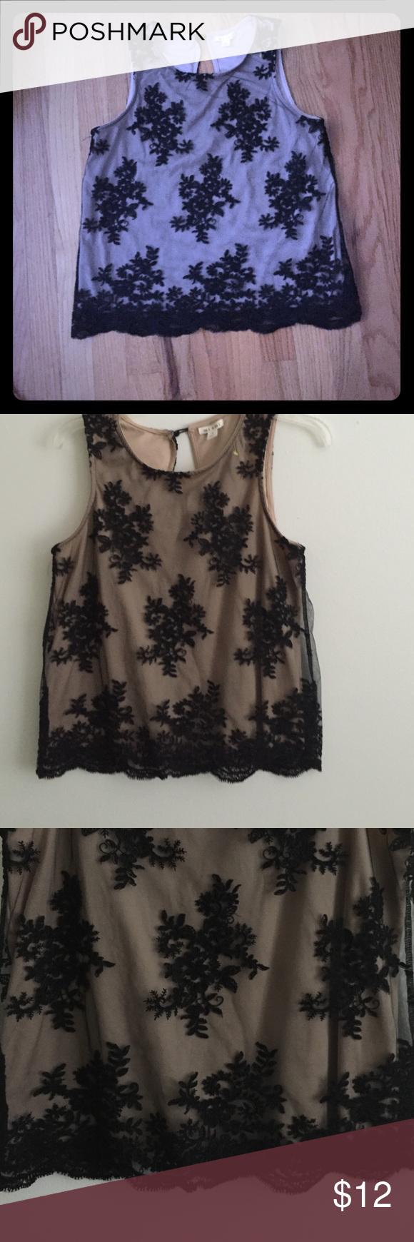 Mi a Mi embroidered top. Tan and Black Delicate, beautiful embroidered blouse. Mi a mi Tops Blouses