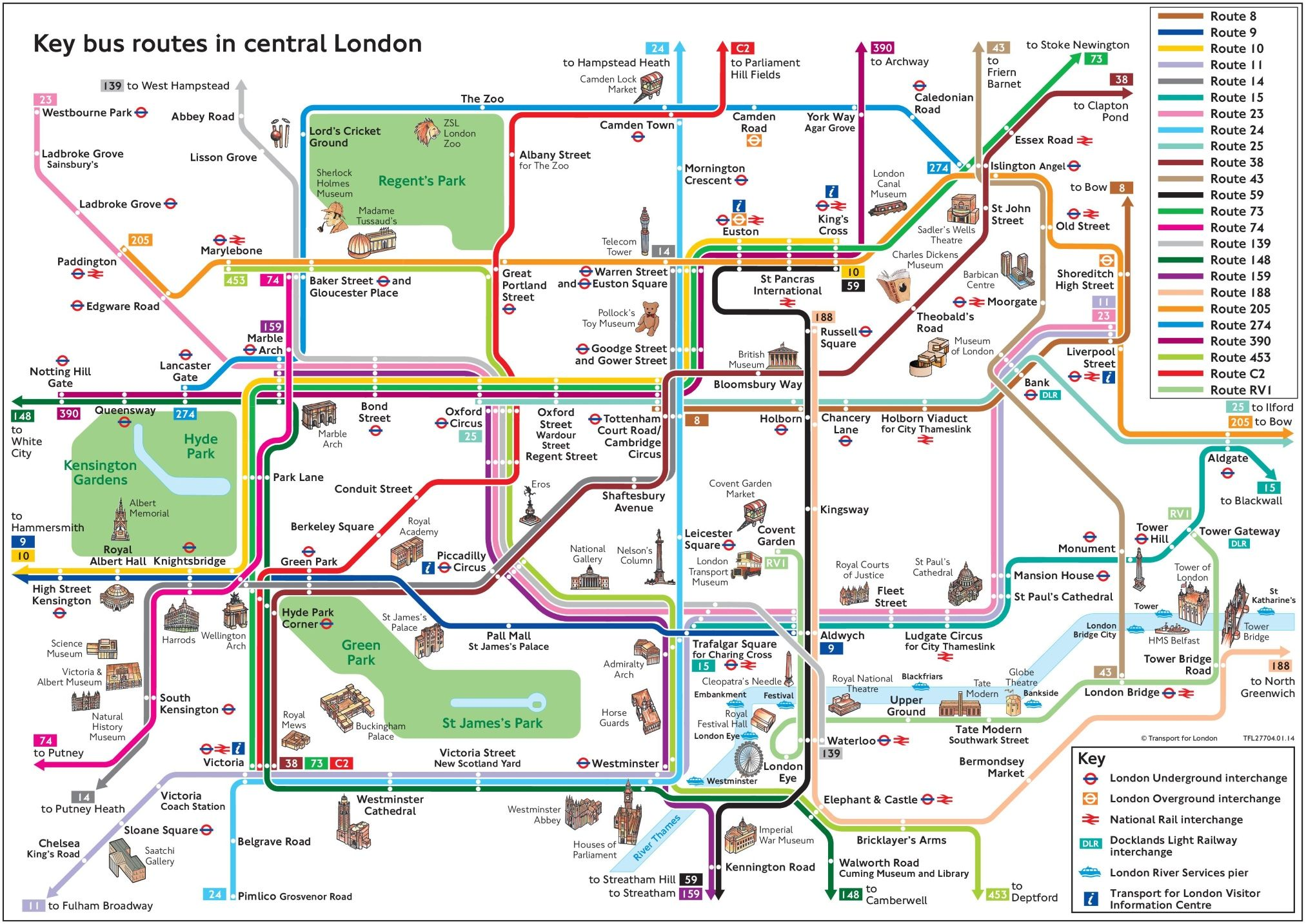Central London bus map with tourist attractions Europe trip