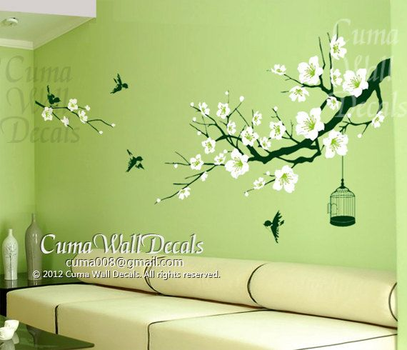 cherry blossom wall decal birds wall decals flower vinyl wall decals  birdcage wall mural nursery wall decal nature- flower tree cuma S I Z E *  small