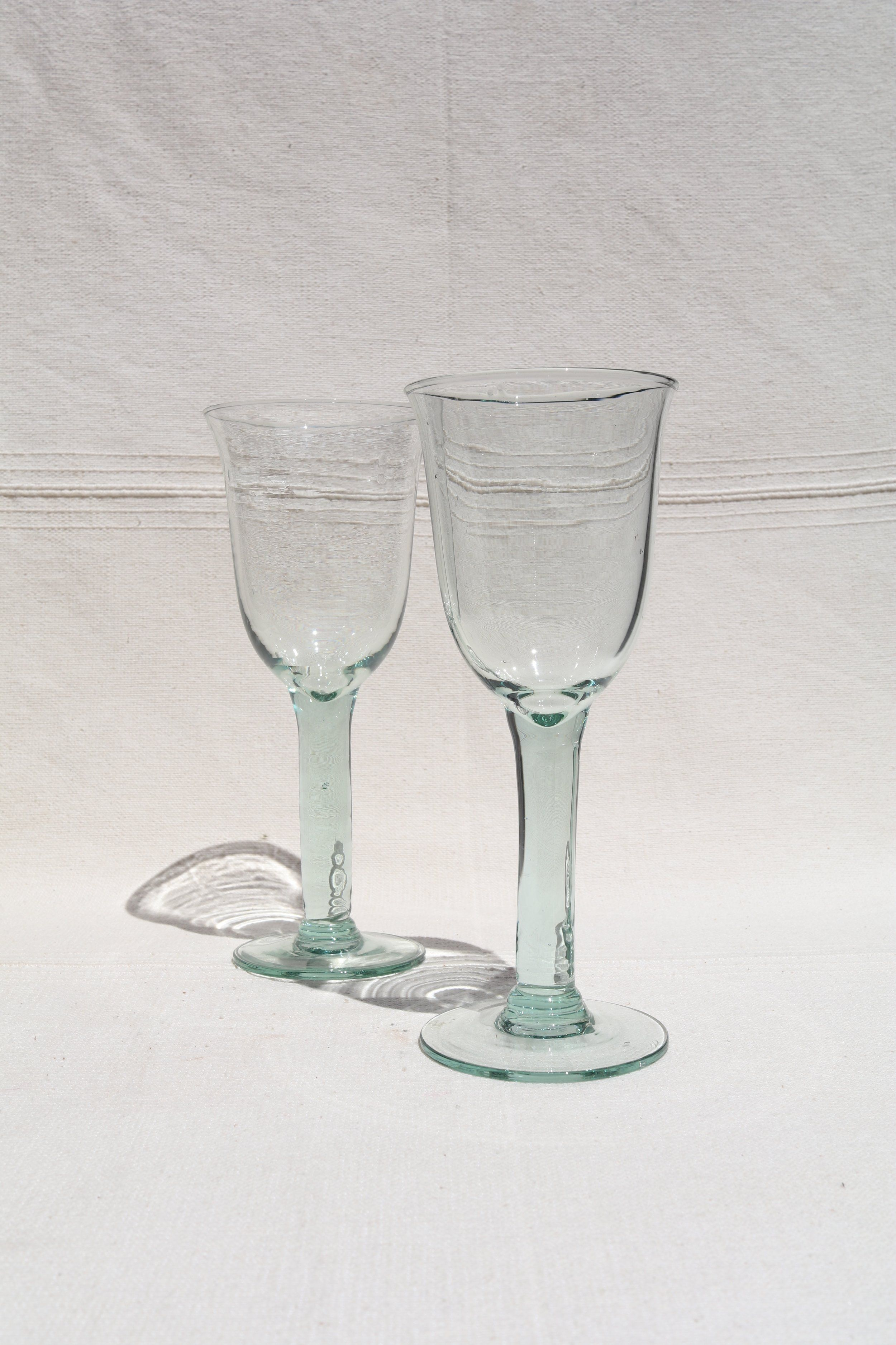 Set Of Two Gorgeous Hand Blown Wine Glasses With A Thick Stem And A Bluish  Tint