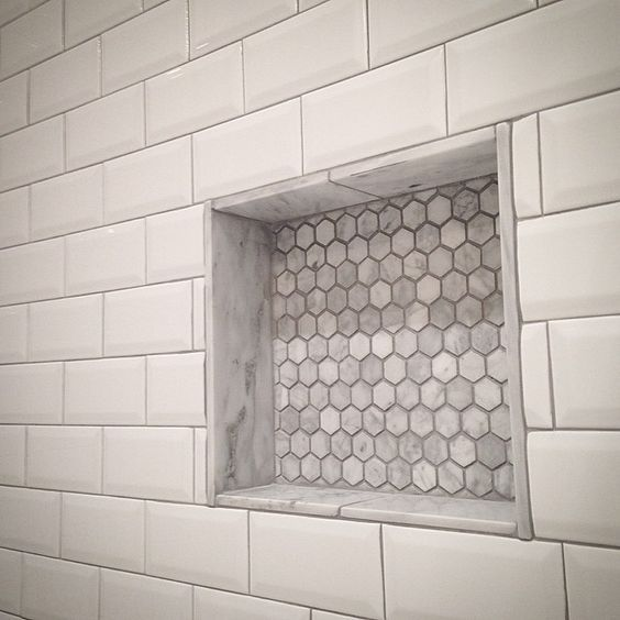 Another Tile Niche With Hex Carrara Inset In Beveled Subway Tile Davisconstructionservices Tile Mos Beveled Subway Tile Diy Bathroom Remodel Shower Remodel