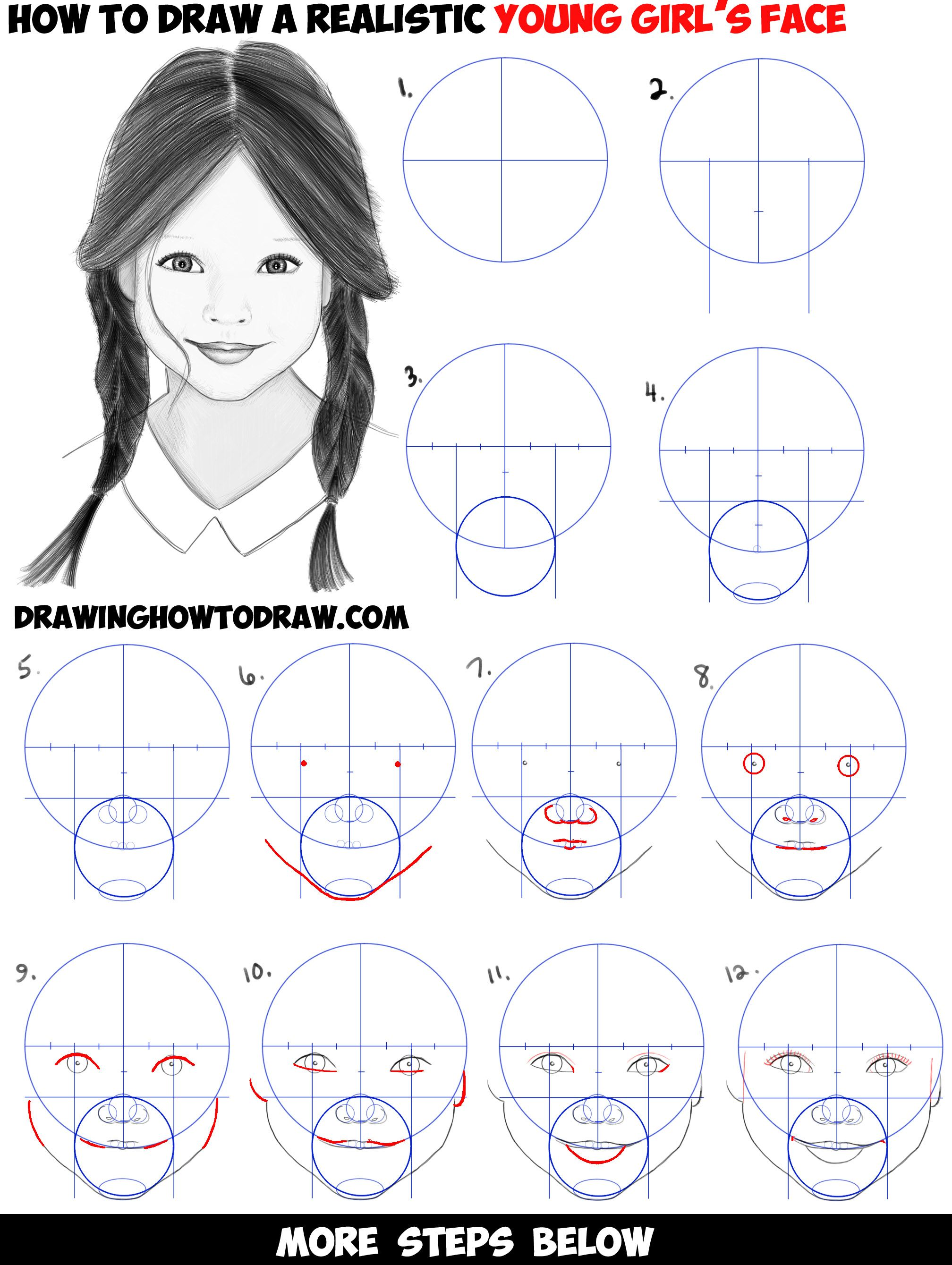 How to Draw a Realistic Cute Little Girls FaceHead Step