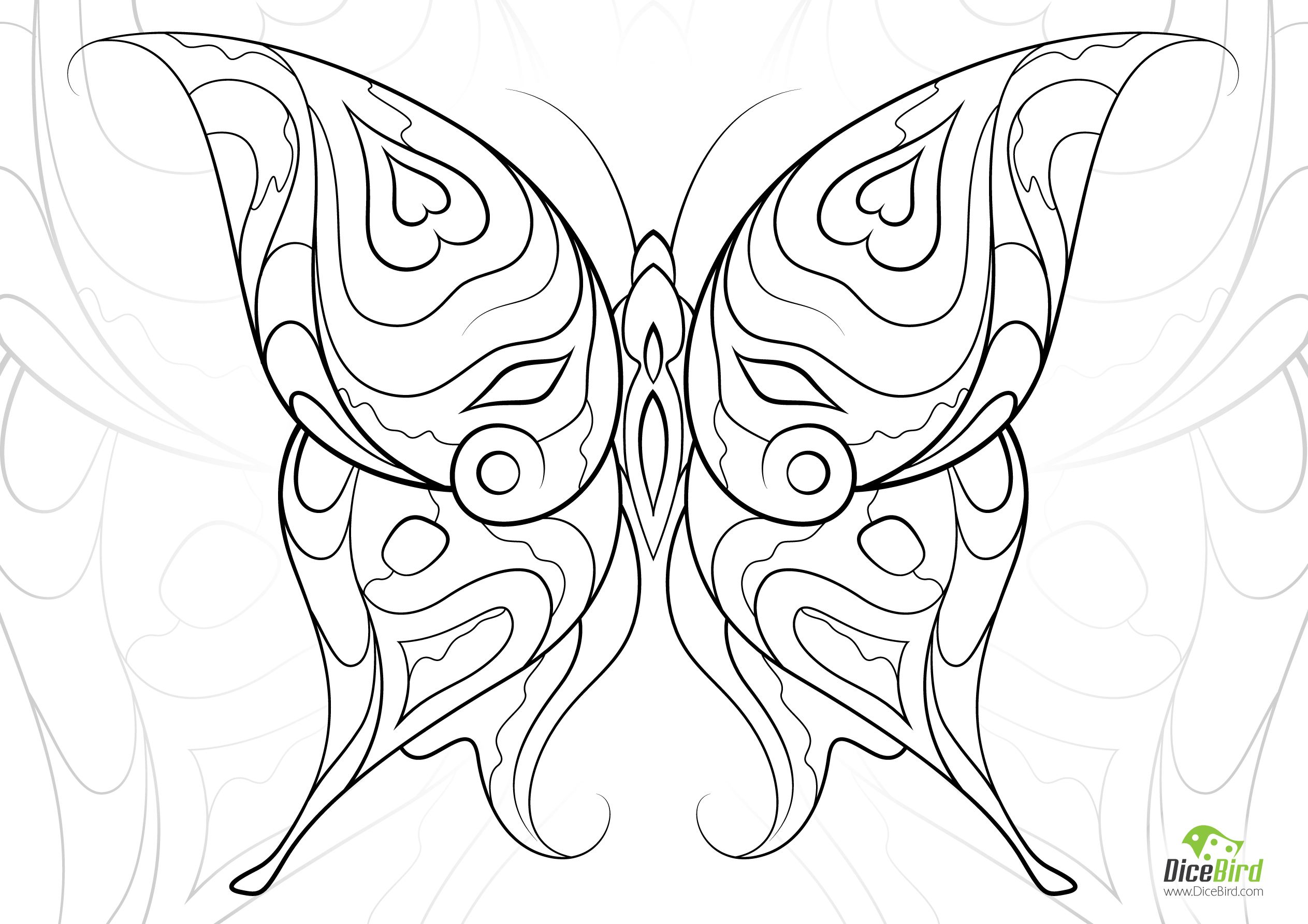 Heart Butterfly Adult Coloring Book Pages Geometric Coloring