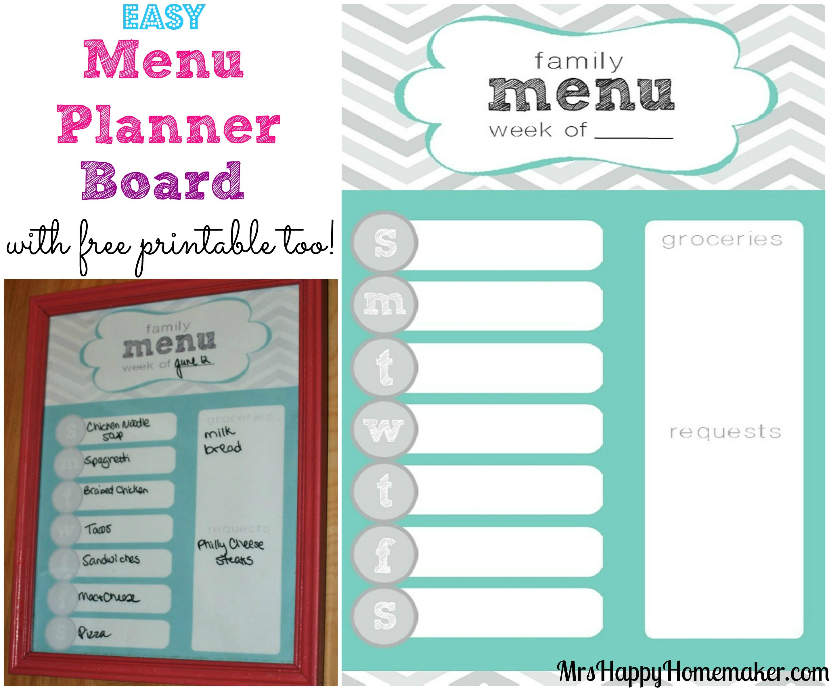 Easy Menu Planner Board - with a free printable! | Homemaking ...