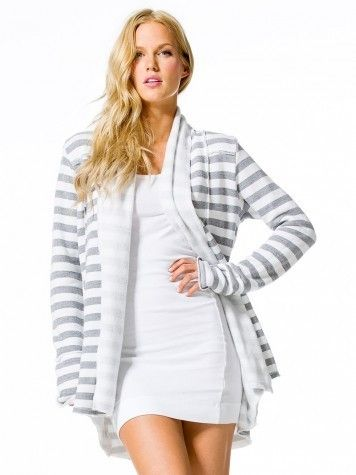 Stripe Slouchy Cardigain - White and Gray Stripes
