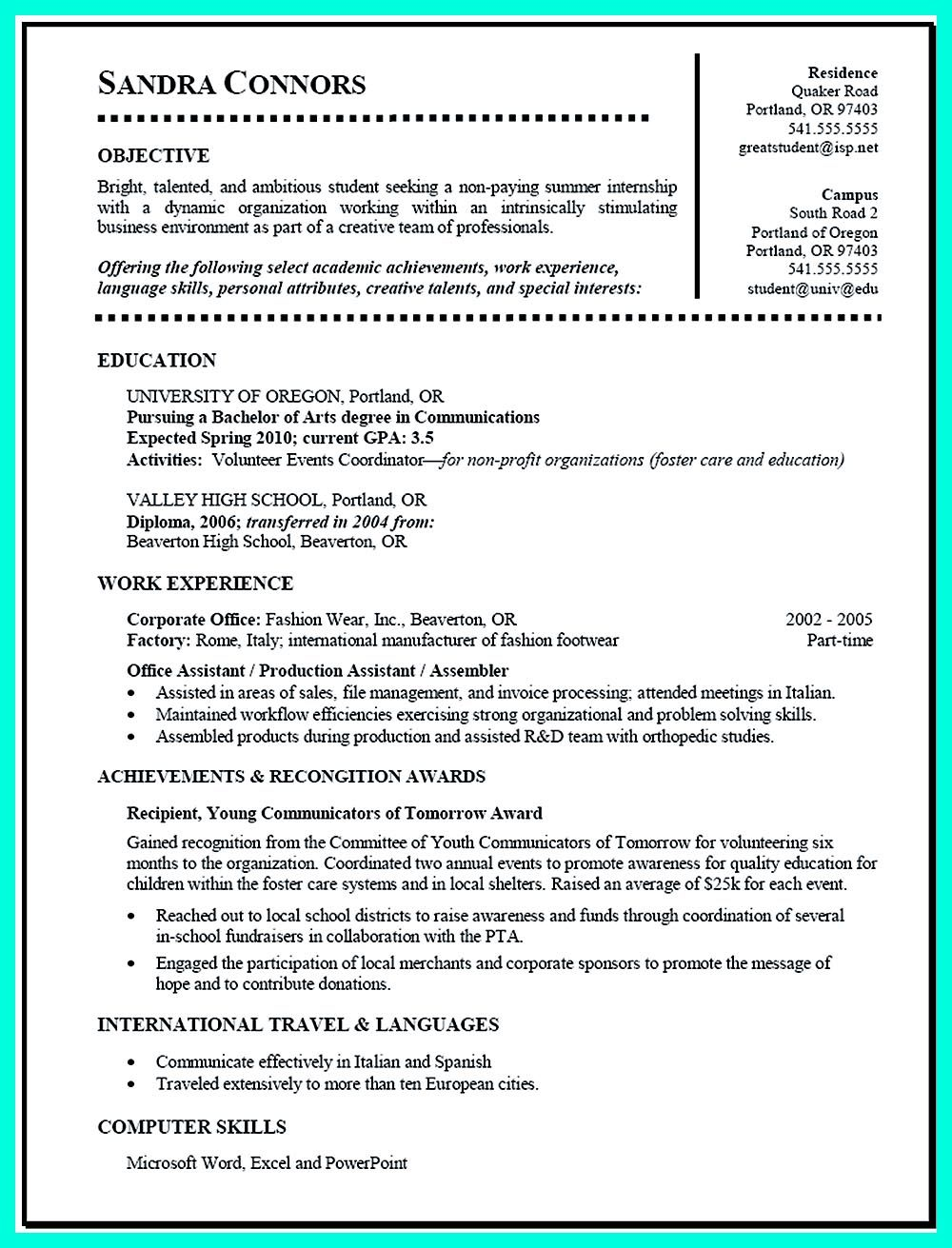 Sample Student Resume Current College Student Resume Is Designed For Fresh Graduate