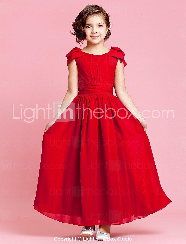 Una línea de longitud del tobillo vestido de niña de flores - cuello ...