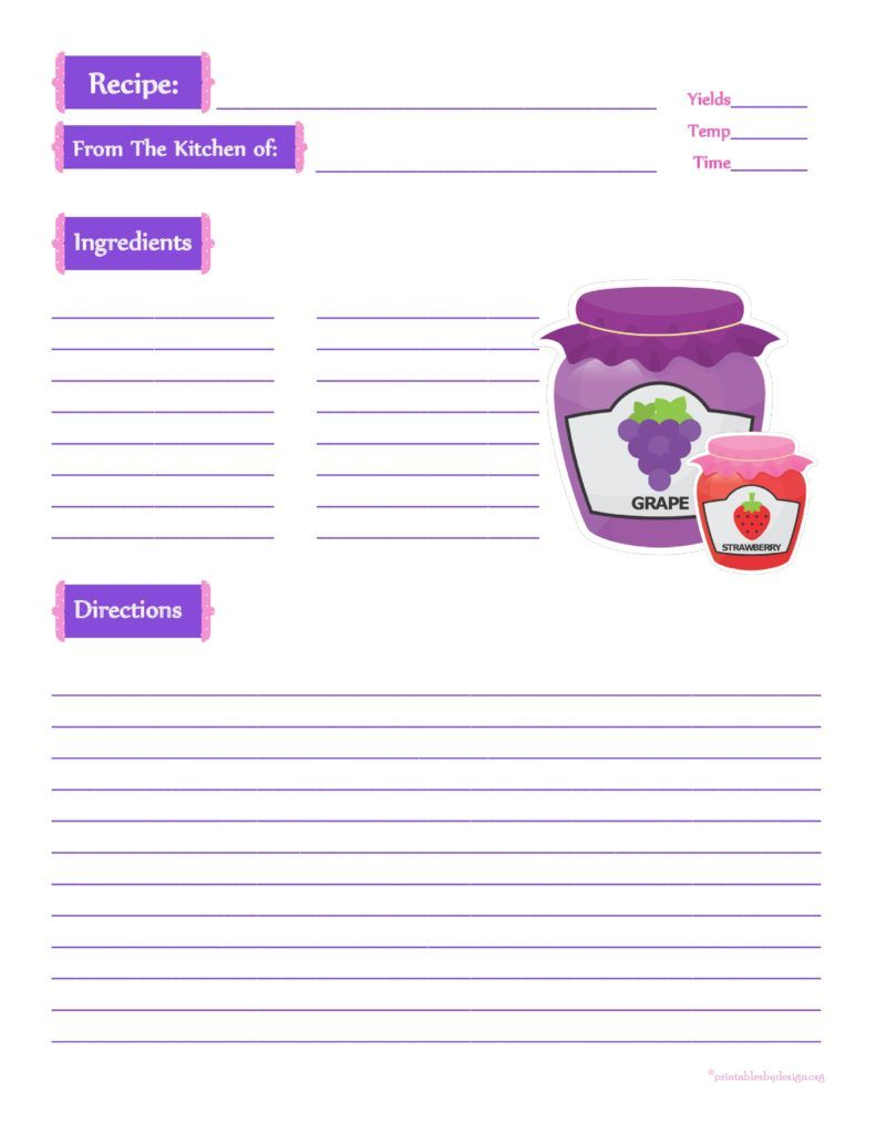 Jam Jars Recipe Cards   X   Recipe Template