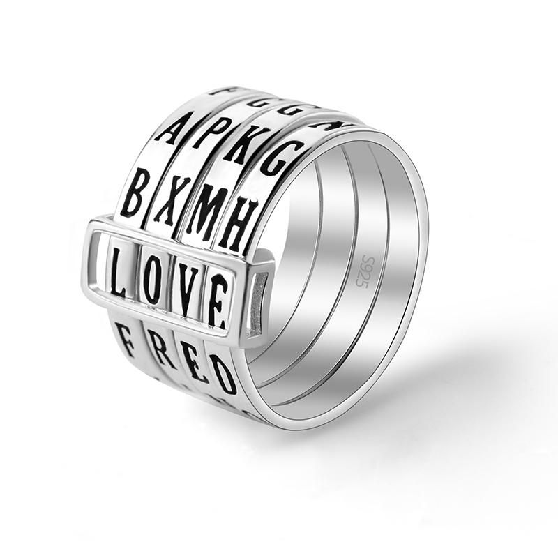 Let your creativity fly and give yourself something to fidget with during the day wearing the Make Words ring. This one-of-a-kind ring features four layers that can be spun around and lined up with one another to create short words. It is fashioned out of tarnish-resistant 925 sterling silver.