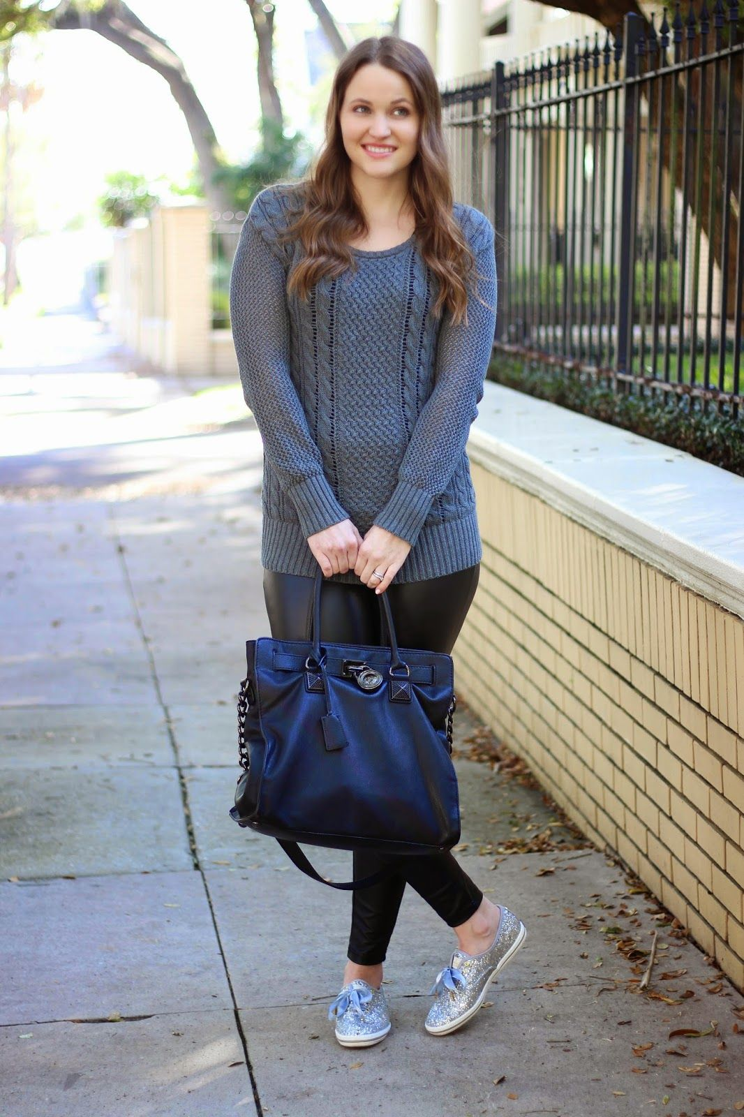 Kelly Elizabeth Style: Cable Knit and Faux Leather - grey cable knit sweater: Target; faux leather leggings: Hue; black bag: Hamilton by Michael Kors; silver glitter shoes: Kate Spade for Keds; lip color: Mistress lipstick and Sophia lip gloss by Buxom Cosmetics