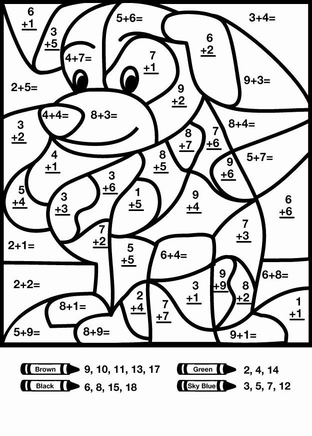 Coloring Activities For Grade 2 Fresh Dog Addition Color By Number Worksheet  Math Coloring Worksheets, Math Pictures, Kids Math Worksheets