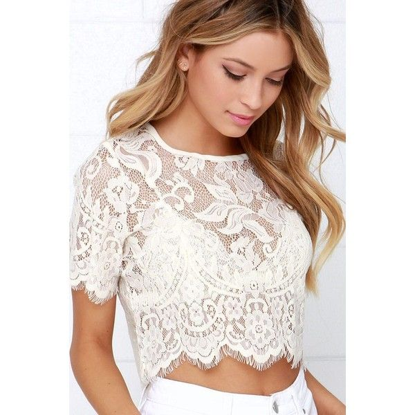 4d84b5d06a2163 Glamorous Slowly but Sheerly Cream Lace Crop Top ❤ liked on Polyvore  featuring tops, sexy lace tops, lace crop top, cropped tops, cream crop top  and sexy ...