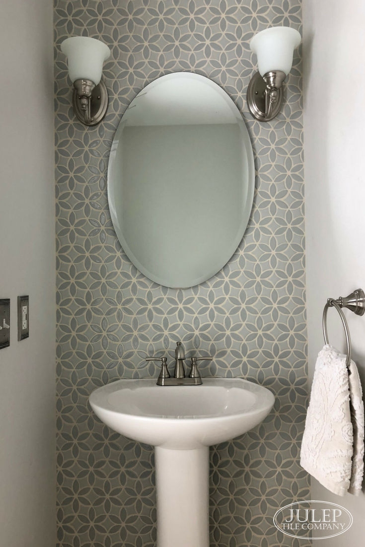 Elegant Powder Room Makeover Tile Accent Wall Bathroom Powder Room Tile Bathroom Accent Wall