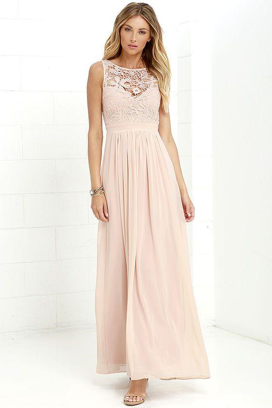 862f7f548c739 Lovely Blush Dress - Lace Dress - Maxi Dress - Backless Dress -  68.00