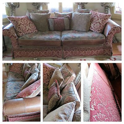 ART E DE MEXICO SPANISH STYLE BURGUNDY FLORAL LEATHER COUCH SOFA W/PILLOWS
