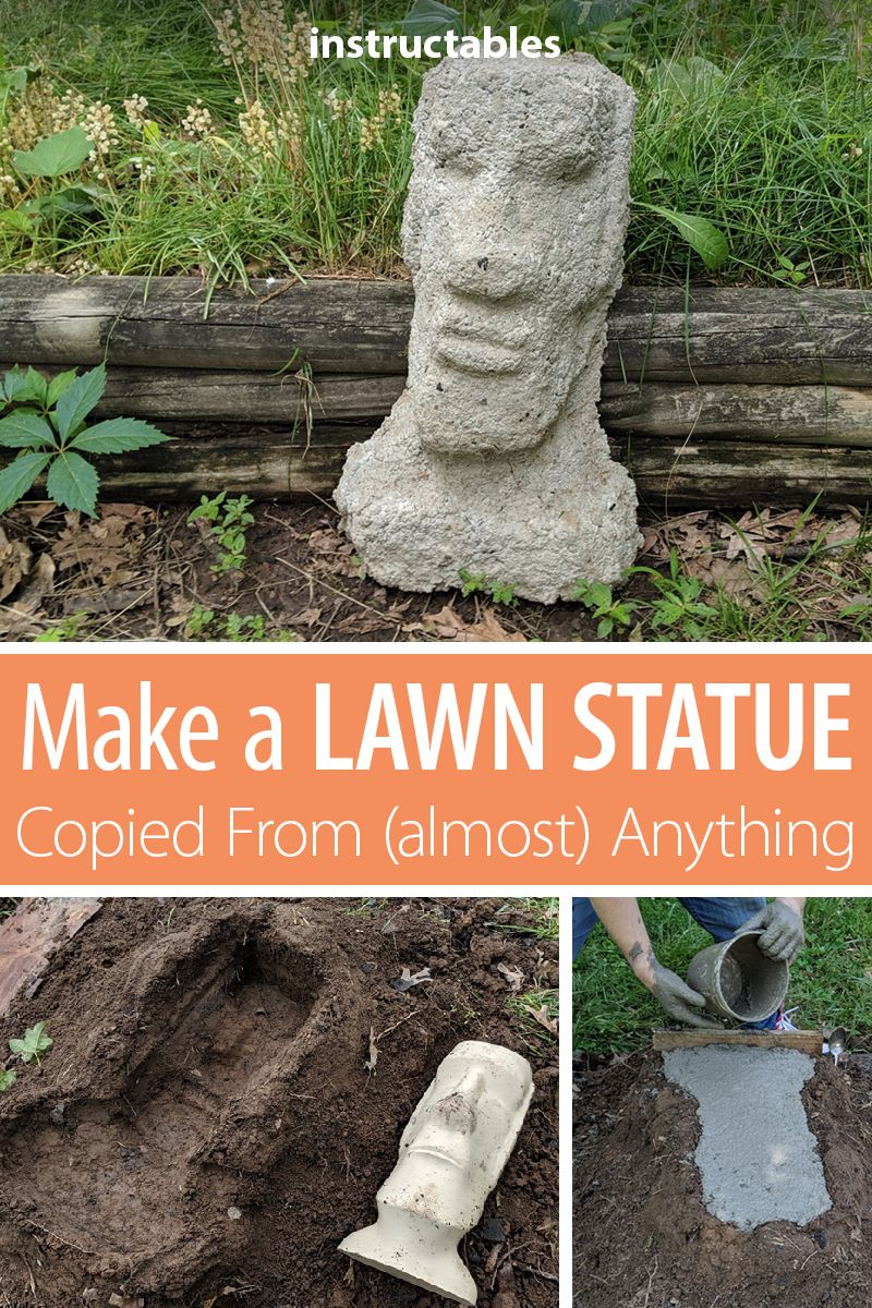 Make a Lawn Statue, Copied From (almost) Anything is part of Garden sculpture, Concrete garden, Glass garden art, Garden crafts diy, Garden crafts, Garden art - Make a Lawn Statue, Copied From (almost) Anything Having a lawn statue is a great way to personalize your home  As a maker I really wanted to show my style and skills in my yard  The Idea Behind Making A Copy Out Of CementI wanted to make small cement Moai head of my own  Actually I wanted to mak