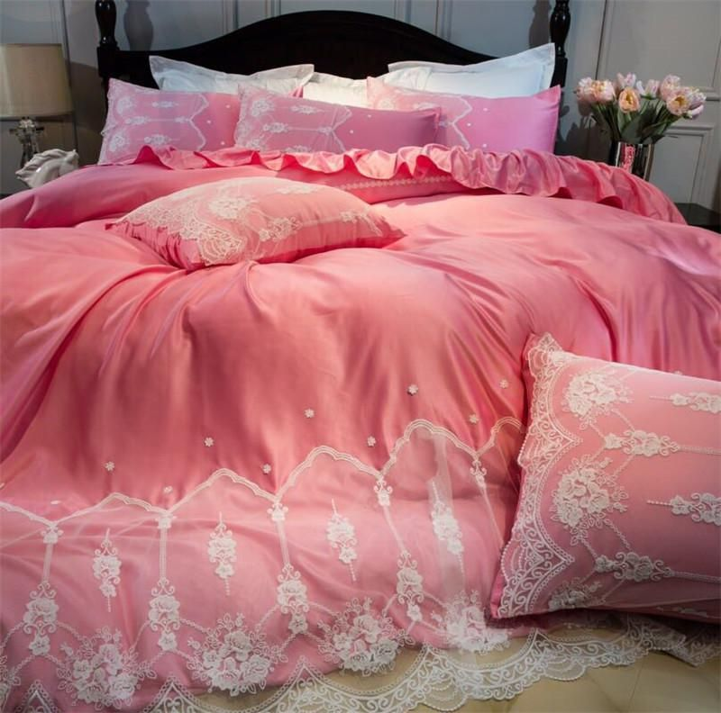 Pink White Romantic Lace Edge Luxury Princess 60s Egyptian Cotton Bedding Set Duvet Cover Bed Linen Bed Sheet Duvet Bedding Sets Duvet Cover Master Bedroom Bed