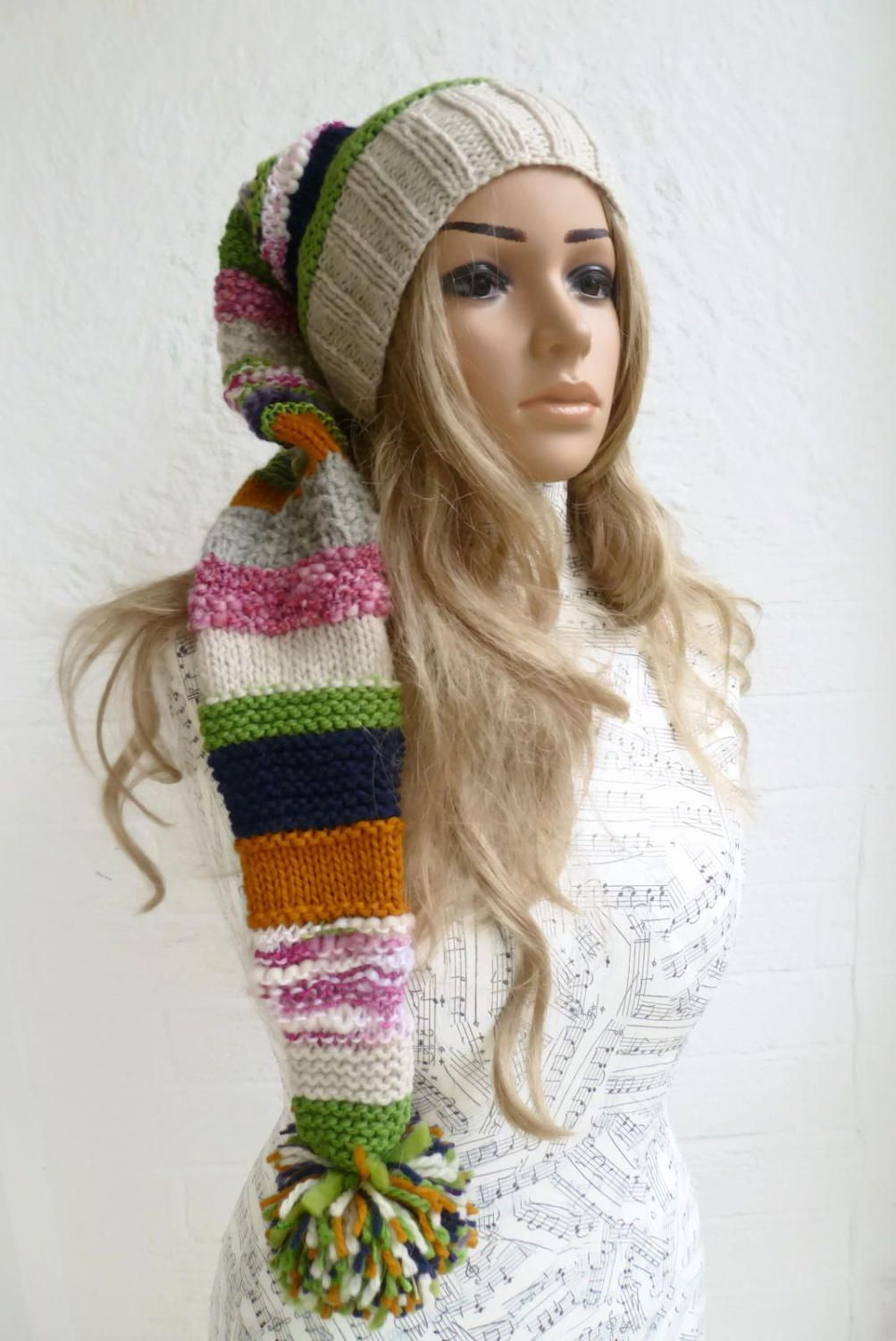 27080f51ce9 Wool Striped Stocking Hat - Women Elf Hat - Hand Knitted Festival Hat -  Multi Colour Pixie Hat - Long Tailed Slouch Beanie - Clickclackknits by ...