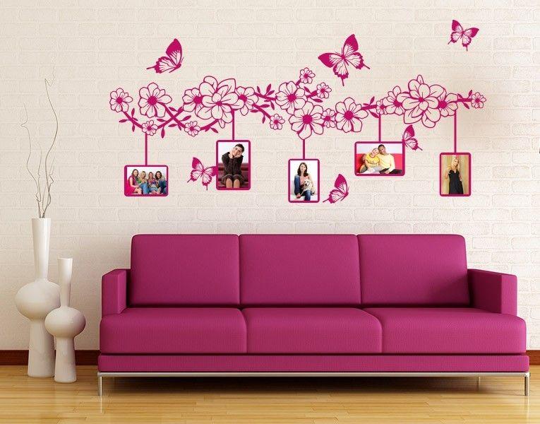 Wandtattoo Blumenranke mit Schmetterlingen Flower power - wandtattoo für wohnzimmer