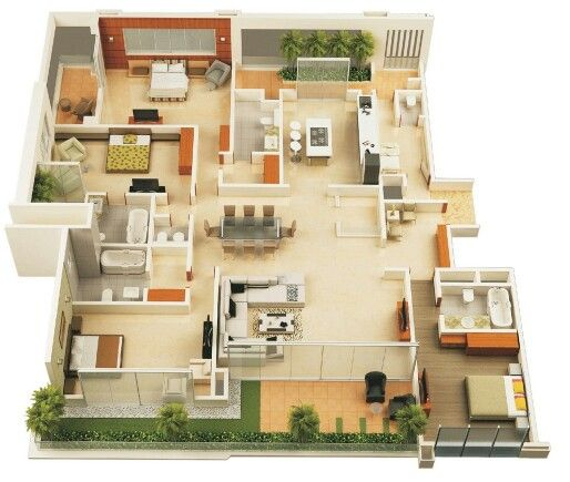 50 four bedroom apartment house layouts Layouts Pinterest - new house blueprint esl