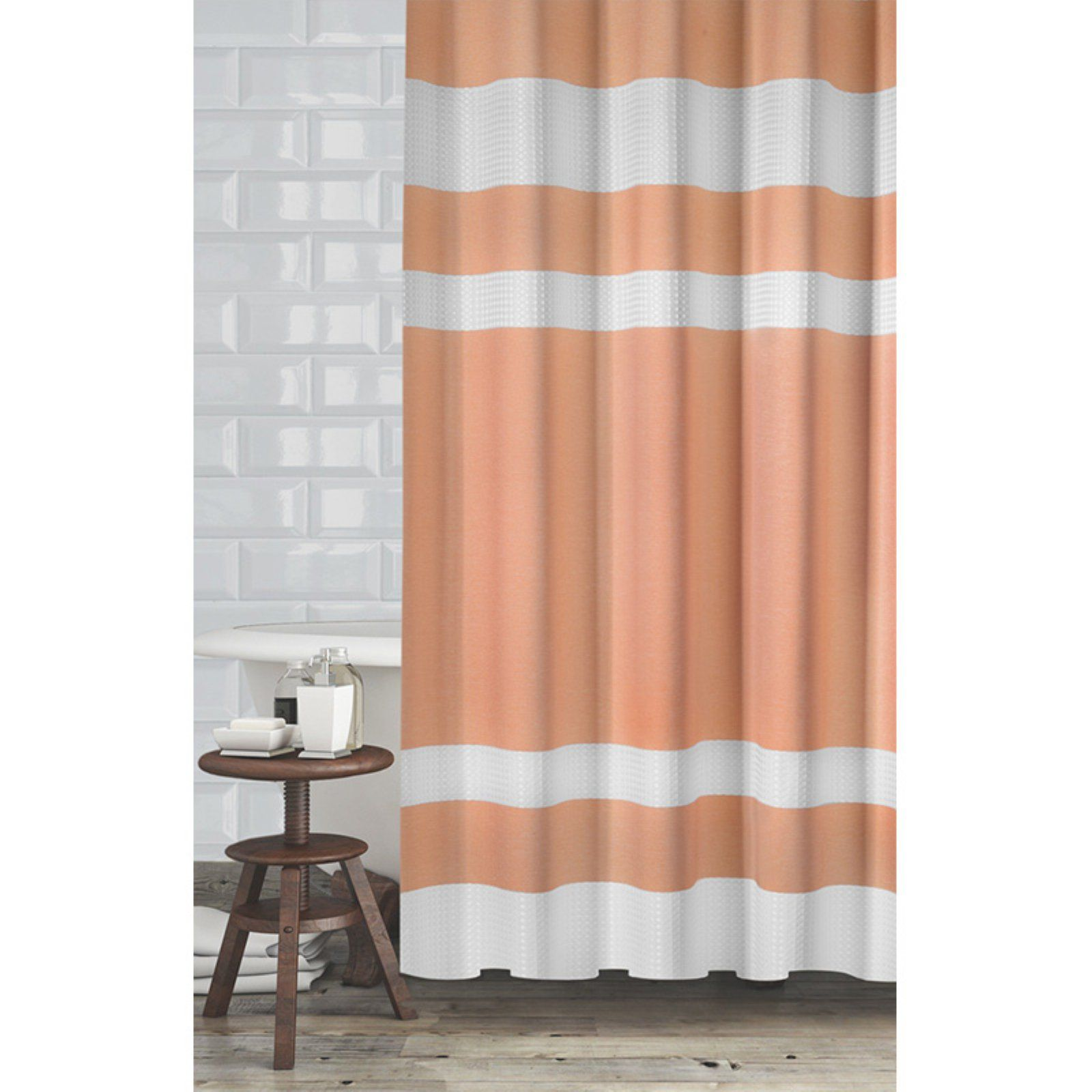 Popular Bath New England Shower Curtain Coral White Curtains