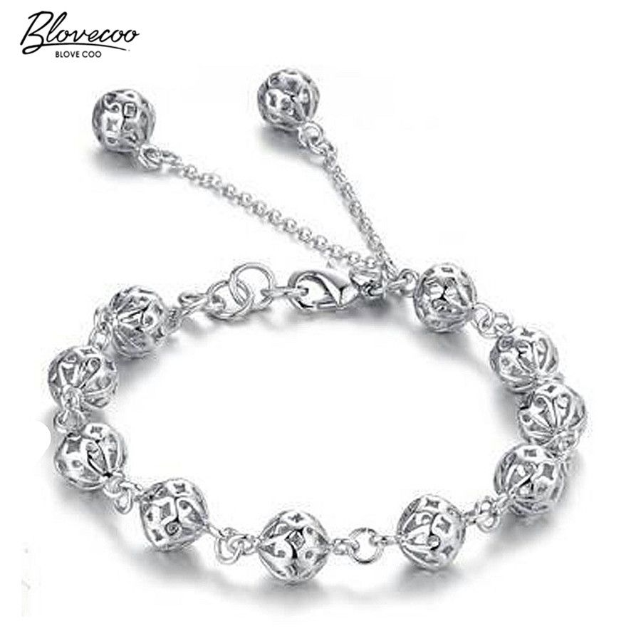 Bracelets for women silver plated hollow spherical friendship gift