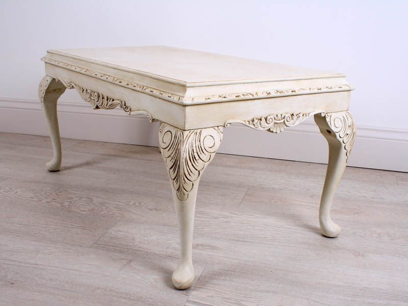 Antique Vintage French Chippendale Style Coffee Table With Detailed Carved  Frieze Edging, Slightly Distressed U0026