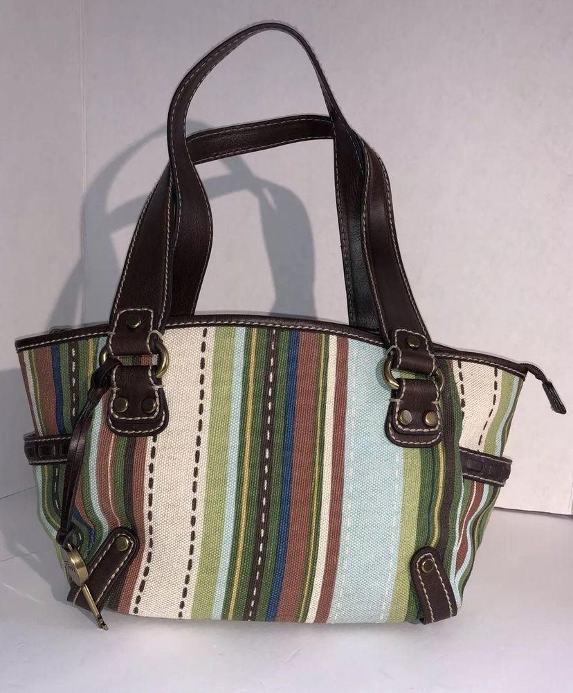 Fossil Key Handbag Stripe Brown Leather Green Aqua Tan Pockets Modern Vintage Ebay