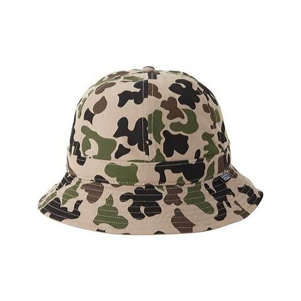Converse CONS 6 Panel Camo Bucket Hat - Spring Hodgman Camo (1,235 THB) ❤ liked on Polyvore featuring accessories, hats, converse hat, fishing hat, fisherman hat, camo hat and camouflage fishing hat