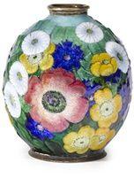Camille Fauré Enamel metal vase~Circa 1925