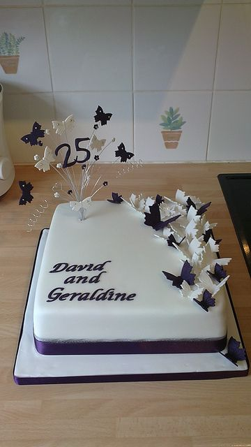 Purple Butterfly 25th Silver Wedding Anniversary Cake With Images