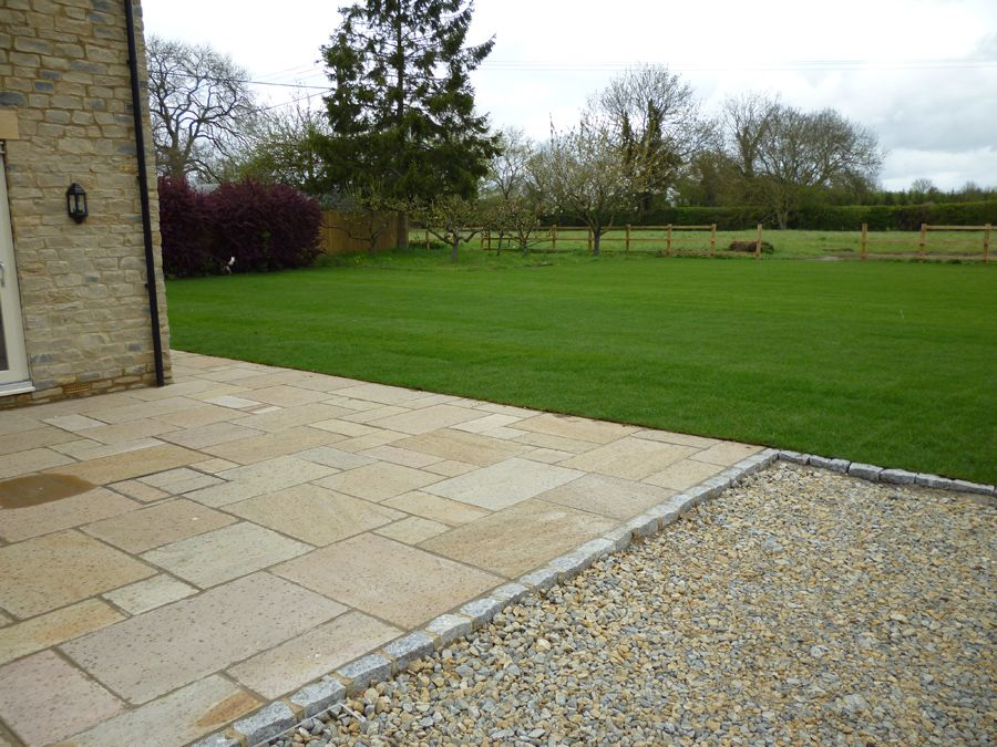 Rolawn Medallion Turf >> Rear Cotswold natural stone paved patio, shingle drive and ...
