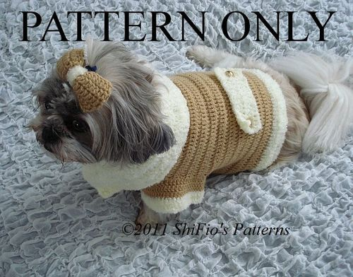 Crochet Pattern For Dog Jacket Coat Bow S M L Xl 179 Not Clothes