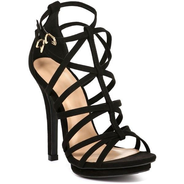fb83d67f64b Black Naturally Strappy Heels ($27) ❤ liked on Polyvore featuring ...