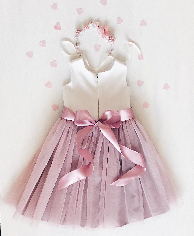 e9f7831993da Flower girl dress, dusty rose flower girl dress, mauve flower girl ...
