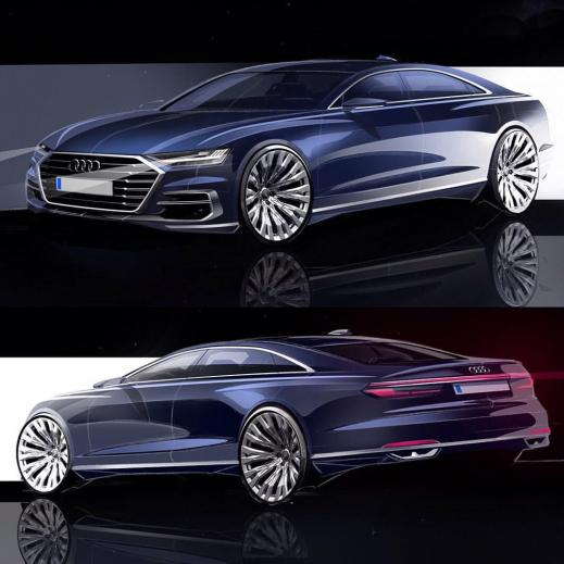 2018 Audi A8 official sketches #cardesign #car #design #carsketch #sketch #audi #audia8 #conceptcars #concept #cars #sketch