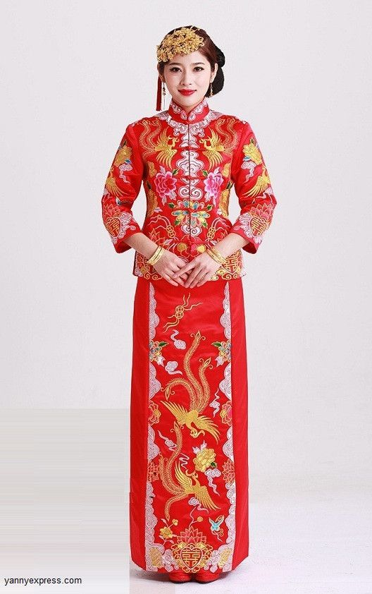 b69fcca5b Qun Kwa Embroider Dragon & Phoenix Brocade Chinese Wedding Gown ...