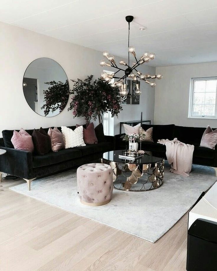 Inspiring Sitting Room Decor Ideas For Inviting And Cozy: Living Room....black Sofas With Neutral Blush And Gold