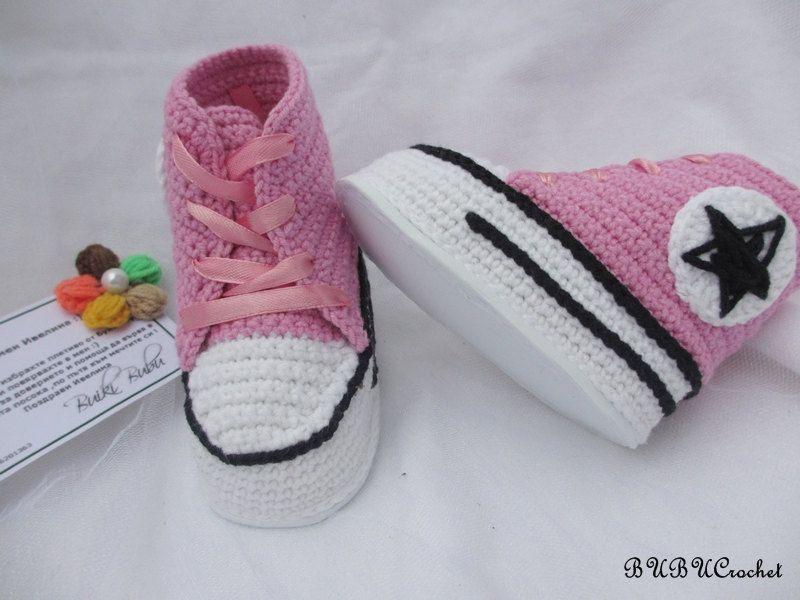 Pink baby crochet sneakers, crochet baby booties, baby shoes, crochet baby shoes, Pink baby shoes, crochet bay girl sneakers by BUBUCrochet on Etsy