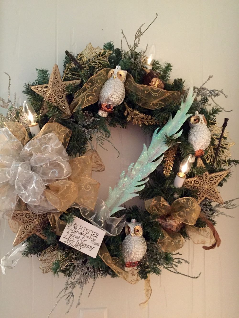 Harry Potter Wreath Made By Me Harry Potter Christmas Decorations Harry Potter Christmas Gifts