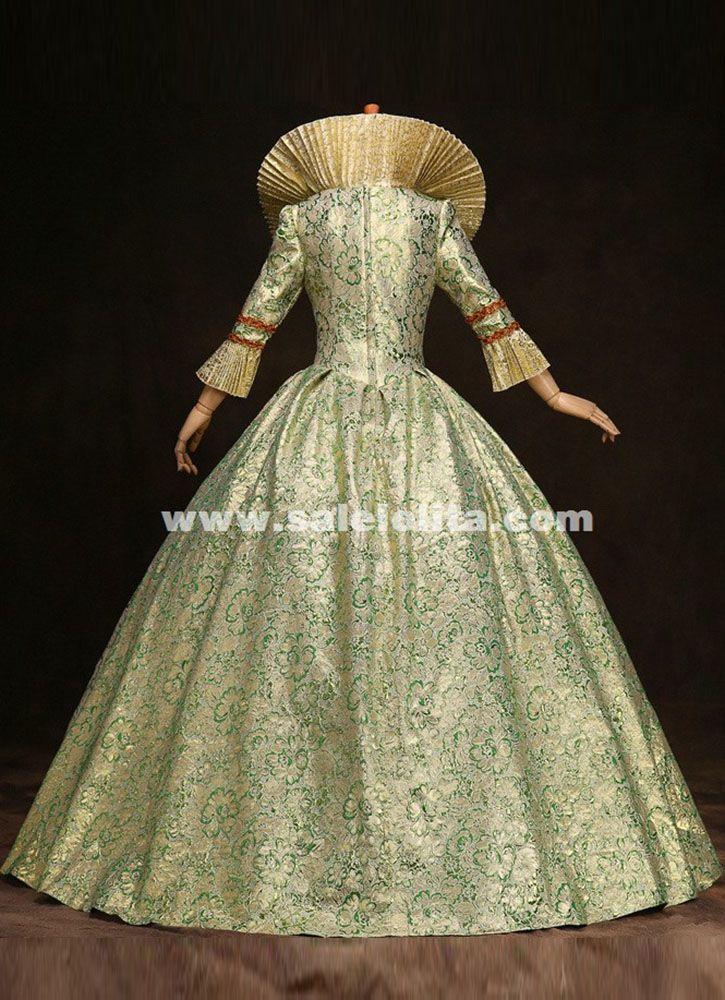 High-grade Green Print Marie Antoinette Dress 17th 18th Century ...