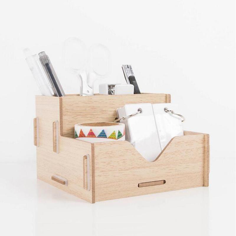 Sweet Mood Desk Organizer Box Wooden Pen Holder Wood Pen Holder Desk Organization