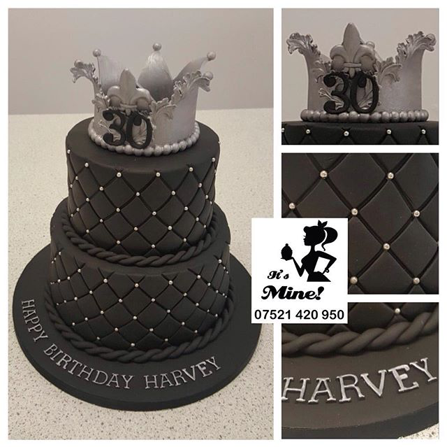 Fantastic A Two Tier Quilted Black 30Th Birthday Cake With A Silver Crown On Personalised Birthday Cards Epsylily Jamesorg