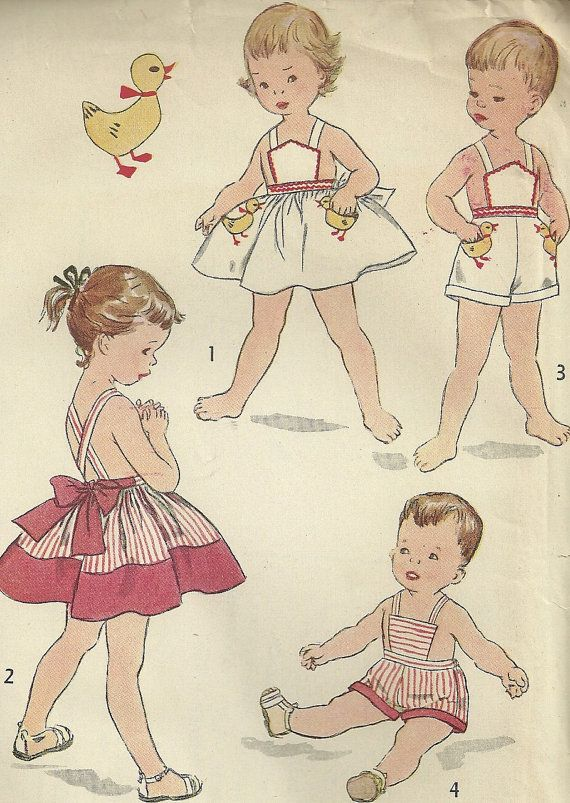 0c60bce7ef Uncut 1953 Vintage Pattern, Toddler Pinafore and Sunsuit, Brother and  Sister Fashion, Transfer Included, Simplicity 4314, Size 2 | Children's  Patterns ...