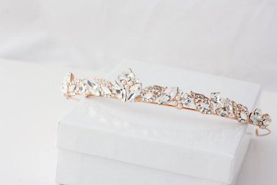 Rose Gold  Bridal Tiara Small Wedding Crown Swarovski Crystal  Simple Diadem for Bride Art Deco Handmade Rhinestone Elegant Headpiece  AGGIE #weddingcrown