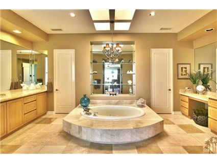Huge bathroom with soaking tub as the centerpiece- but