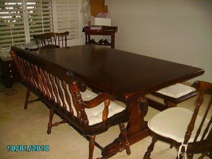 900 Ethan Allen Antique Dark Pine Bench Style Dining Room Table