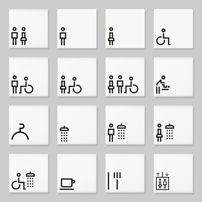 Architectural Signs Incorporating The Lisbon Range Of Pictograms By